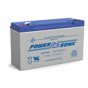 Power-Sonic PS-6100 Sealed Rechargeable Battery, 6 Volt 12.0 AH