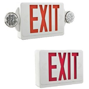 Lithonia Lighting LHQMLEDRM6 Combo Exit Sign/Emergency Light, LED, 2-Head, Red Letters