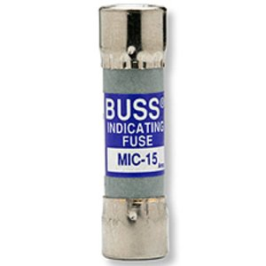 "Eaton/Bussmann Series MIC-15 Fast-Acting Indicating Fuse, 15A, Silver Pin, 13/32"" x 1-1/2"", 250V"