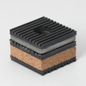 "Cooper B-Line CNNK-9 Transformer Pad, Vibration, Cork, Steel, Ribbed Neoprene, 3"" x 3"""