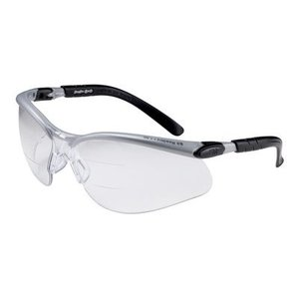 3M 11457-00000-20 Dual Reader Protective Eyewear, Anti-Fog Lens, Silver/Black Frame