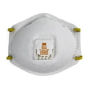 3M 8511-EA Particulate Respirator, Cool Flow Valve, White