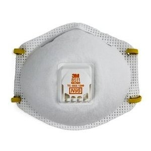 3M 8511N95EA Particulate Respirator, Cool Flow™ Valve Technology, White