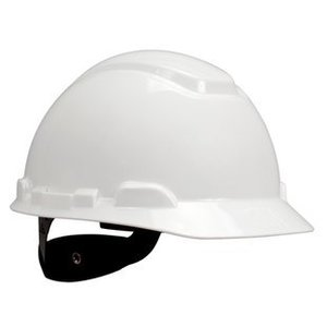 3M H-701R-UV-EA H-700 Series White Hard Hat, Short Brim, 4-Point Rachet Suspension