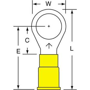 3M MV10-38R/SK Vinyl Insulated Brazed Seam Ring Tongue Terminal