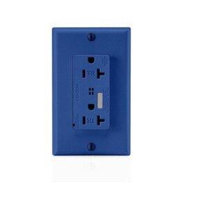 Leviton T7380-B 20 Amp, 125 Volt, Decora NEMA 5-20R, Blue