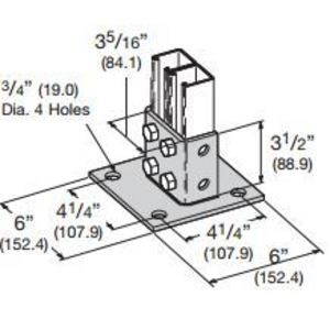 "Cooper B-Line B281SQHDG Strut Post Base, Square, Double, 6"" X 6"" X 3-1/2"", Steel"