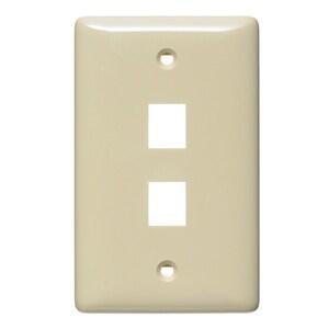 Hubbell-Premise NSP12I Wallplate, 2-Port, 1-Gang, Keystone, Rear Load, Flush, Ivory