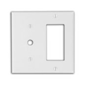 Leviton 80479-W Comb. Wallplate, 2-Gang, Phone/Decora, Thermoset, White, Standard