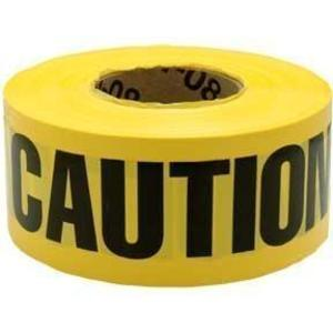 "3M 301 ""Caution Caution Caution"" Barricade Tape, 3"" x 300', Yellow"