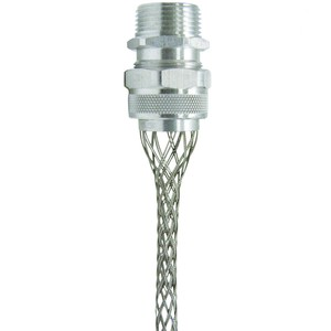 "Leviton L7713 Strain-Relief Grip, Single/Double Weave, Straight, 3/4"", Aluminum"