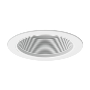 "Juno Lighting V3025-WWH Straight Baffle Trim, 6"", White Baffle/White Trim"