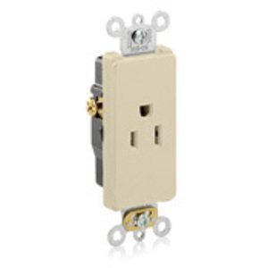 Leviton 16251-I 15A Single Receptacle, Decora, Ivory, 125V, Commercial Grade, 5-15R