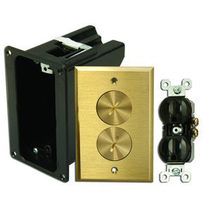 Wiremold WMFB1DRB Floor Box Assembly, Includes Duplex Receptacle, Brass Floor Plate