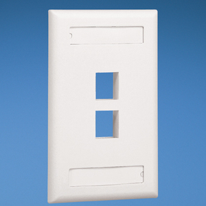 Panduit NK2FEIY Wallplate, Vertical, 1-Gang, 2-Port, Box Mount, NetKey, Ivory