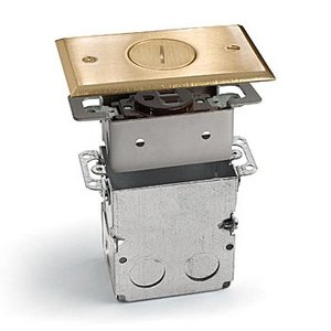 Lew SWB-1-BP Floor Plate Assembly, Receptacle Box, Brass Plated