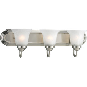 Progress Lighting P3053-09 Bath Light, 3-Light, 100W, Brushed Nickel