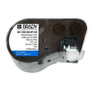 Brady MC-1500-595-WT-BK Label Maker Cartridge, 25', Black on White