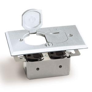 Lew RRP-2-LR-A Floor Plate Assembly, Receptacle Box, Aluminum