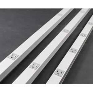 """Wiremold S20GB606TR Tamper Resistant Outlet Strip, Stainless, 12 Outlets, 6"""" Centers, 6' Long"""