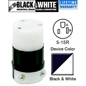 Leviton 5269-C 15 Amp Connector, 125V, 5-15R, Nylon, Black/White
