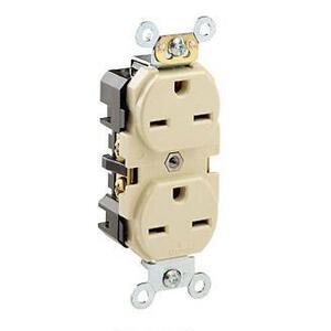 Leviton 5662-I 15 Amp, 250 Volt, Narrow Body NEMA 6-15R, Ivory