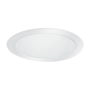 "Elite Lighting B630W-WH Metal Stepped Baffle Trim, 6"", White Baffle/White Trim"
