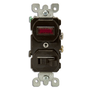 Leviton 5226 Combination Switch / Neon Pilot Light, 15A, Brown