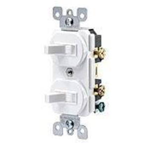Leviton 5224-2W Combination Switch, Toggle, (2) 1-Pole, 15A, 120V, White