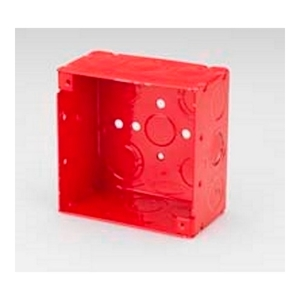 "Bridgeport Fittings FA-401 4"" Square Box, Type: Red Fire Alarm, Welded, Depth: 2-1/8"", Steel"