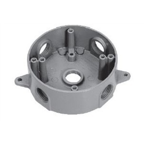 "Cooper Crouse-Hinds TP7146 Weatherproof Round Box, Diameter: 4"", Depth: 1-1/2"", (4) 1/2"" Hubs"