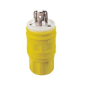 Leviton 24W47 Locking Plug, 15A, 125V, Wetguard, 2P3W
