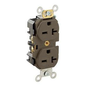 Leviton 5462 20 Amp, 250 Volt, Narrow Body NEMA 6-20R, Brown
