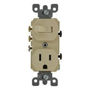 Leviton 5245-I Combination 3-Way Toggle Switch / Duplex Receptacle, 15A, Ivory