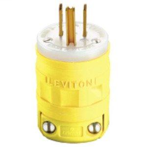 Leviton 1447 15 Amp Plug, Dustguard, 125V, 5-15P, Yellow