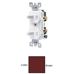 Leviton 5334 Switch Combo, (2) 1-Pole, 20A, Brown