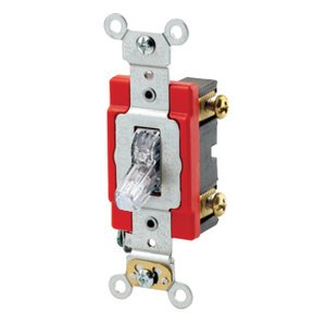 Leviton 1221-PLC Single-Pole Pilot Light Toggle Switch, Clear