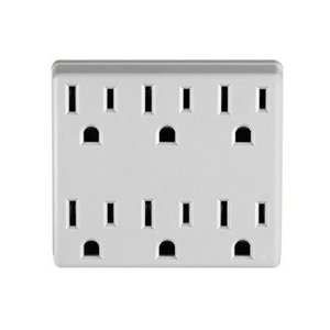 Leviton 6ADPT-W 6-Outlet Adapter, Grounding, 15A, 125V, White