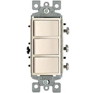 Leviton 1755-T 15A, 120V Decora Comb. Rocker (3) Switch, Light Almond