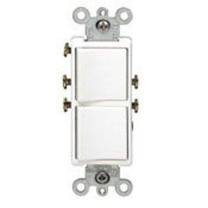 Leviton 5627-T Combination Decora Rocker Switch, (2) Switches, 20A, Light Almond