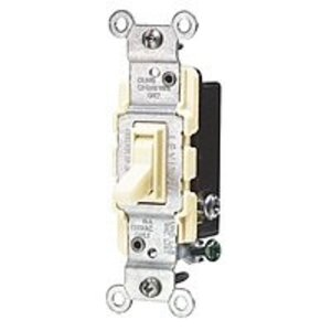 Leviton 1453-2I 3-Way Toggle Switch, 15A, 120VAC, Ivory, Residential Grade