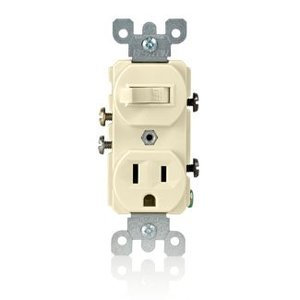 Leviton 5225-T Combination Toggle Switch / Duplex Receptacle, 15A, Light Almond