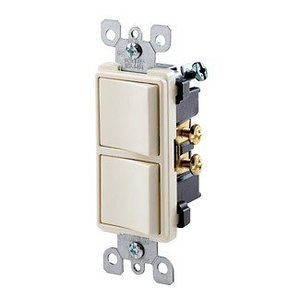 Leviton 5634-T 15A, 120V Decora Comb. Rocker (2) Switch, Light Almond