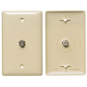 Hubbell-Premise NS750W Wall Plate, Coax/F Connector, 2.4 GHZ, 1-Gang, White, Standard