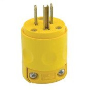 Leviton 515PV 15 Amp Plug, 125V, 5-15P, PVC, Yellow, Commercial Grade