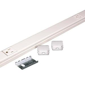 "Wiremold V20GBA612 Plugmold Outlet Strip, Steel, Ivory, 10 Outlets, 12"" Centers, 6' Long"