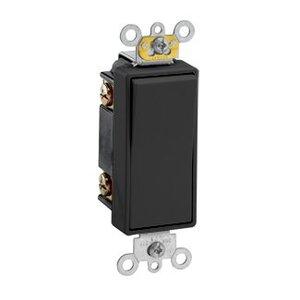 Leviton 5623-2E 3-Way Decora Switch, 20A, 120/177V, 1-Pole, Black, Back/Side Wired