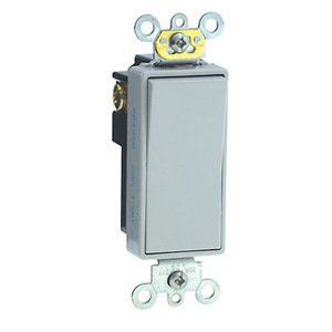 Leviton 5621-2GY Decora Switch, 20A, 120/177V, 1-Pole, Gray, Back/Side Wired