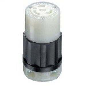 Leviton 2323 Locking Connector, 20A, 250V, L6-20R, 2P3W, Black/White