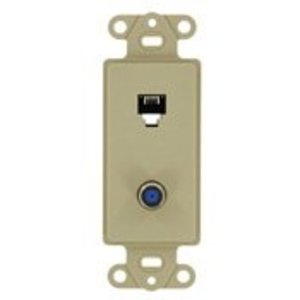 Leviton 40659-I Wallplate Insert, 2-Port, Telephone/Video, 6P4C, F-Connector, Ivory